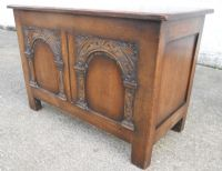 Antique Jacobean Style Carved Oak Blanket Chest